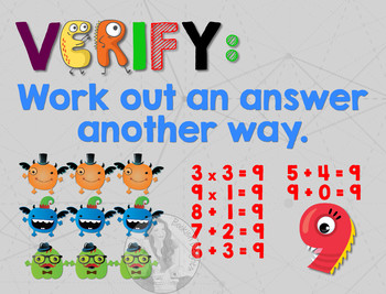 Secondary Math Terms & Definitions - Fun Monster Math Themed Poster - VERIFY