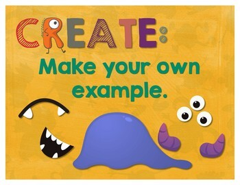 Secondary Math Terms & Definitions - Set of 25 Fun Monster Math Themed Posters