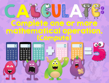 Secondary Math Terms & Definitions - Fun Monster Math Themed Poster - CALCULATE
