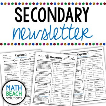 Secondary Newsletter Template for Middle and High School