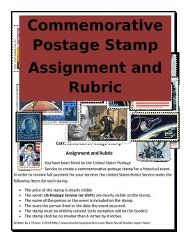 EDITABLE Secondary Postage Stamp Assignment/Rubric