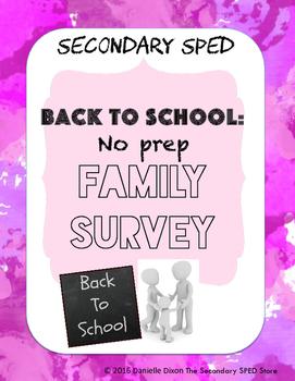 Secondary SPED Back to School Family Survey - No Prep Printable