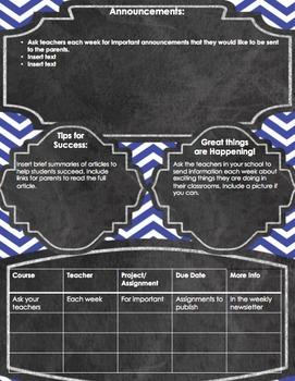 Secondary School Newsletter-blue
