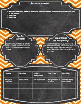 Secondary School Newsletter-orange