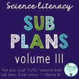 Science Literacy Sub Plans for Secondary Science - Volume III