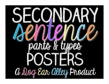Secondary Sentence Types and Parts Posters