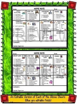 Secondary Special Education Home-School Communication Notes: Editable Included