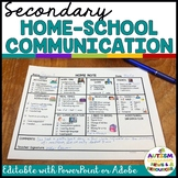 Secondary Special Education Home-School Communication Note