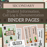 Secondary Student Information & Documentation Binder for Teachers