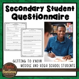 Secondary Student Questionnaire - Freebie