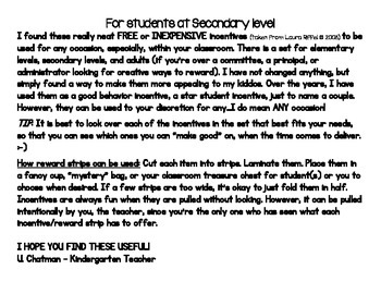 Secondary Students Reward Strips - Incentives