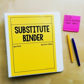 Substitute Binder - Secondary Teacher Binder for Subs