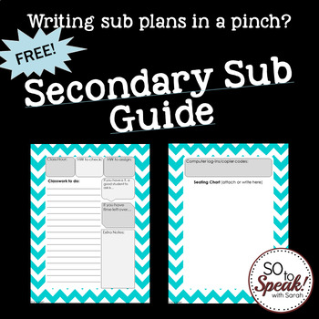 Secondary Sub Plan Guide