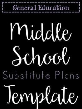 Secondary Sub Plans Template (Editable)