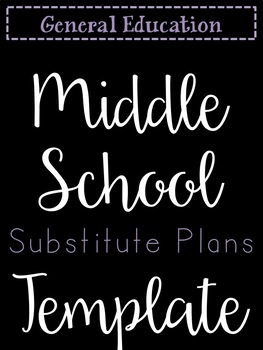 Secondary Sub Plans Template (Editable)