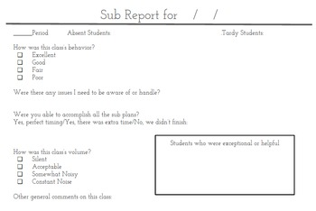 Secondary Substitute Report Form