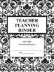 Secondary Teacher Planning Binder B&W Damask