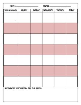 Secondary Teaching Calendar