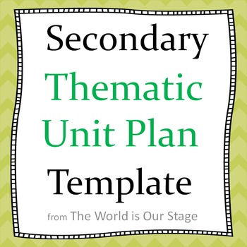 Secondary Thematic Topical Unit Plan Planning Template