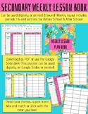 Secondary Weekly Lesson Planner - Pineapple Themed - Digit