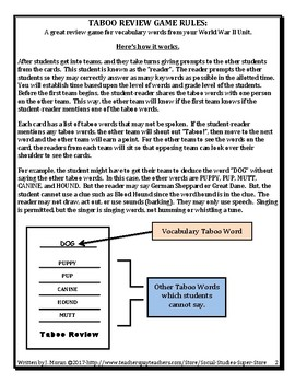 Secondary World War II Taboo Review Game