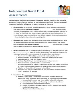 Secondary level English Independent Novel Study reading list and assessments