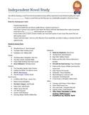Secondary level English Independent Novel Study reading li
