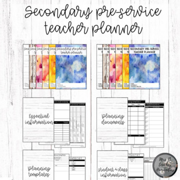 Secondary pre-service teacher planner (Custom option included)