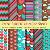 Secret Admirer Valentines Day Digital Paper/Backgrounds