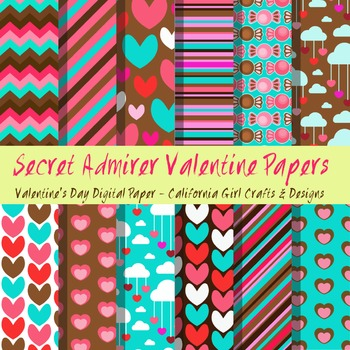 Secret Admirer Valentines Day Digital Paper/Backgrounds
