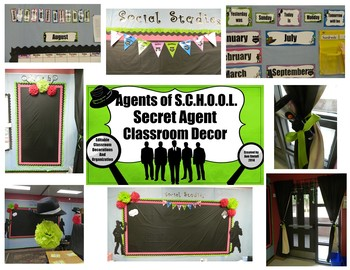 Secret Agent: Editable Classroom Decorations and Organization