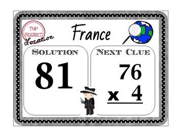 Scavenger Hunt Math - Multiplication 1 x 2 Digits