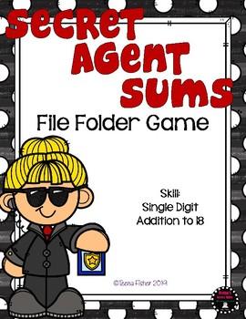 Secret Agent Sums Math File Folder Game Single Digit Addition to 18