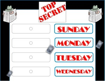 Secret Agent Weekday Chart! Secret Agent Theme! Mystery Detective! Super Sleuth!