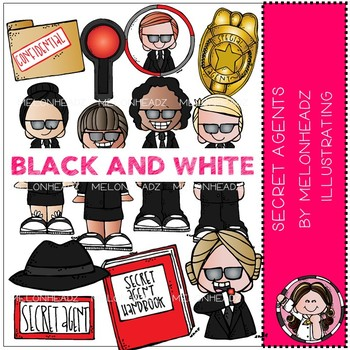 Secret Agent clip art - BLACK AND WHITE - by Melonheadz