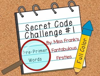Secret Code Challenge #1: Pre-Primer Sight Words