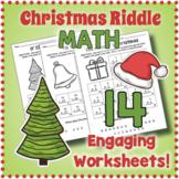 Secret Code Christmas Math Riddle Worksheets