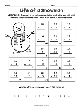 secret code christmas math riddle worksheets by puzzles to print. Black Bedroom Furniture Sets. Home Design Ideas