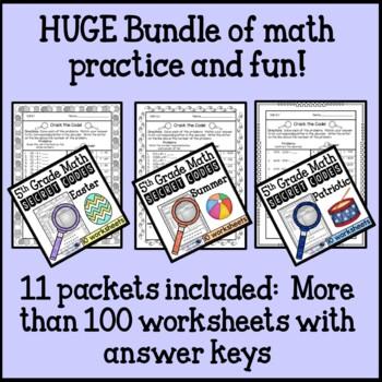 Secret Code Math Worksheet 5th Grade Bundle