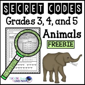 Secret Code Math Worksheets Animals 3rd Grade 4th Grade 5th Grade