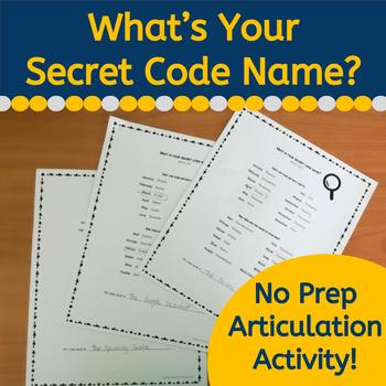 Secret Code Name Articulation Activity