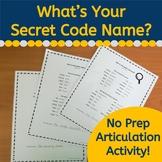 Secret Code Name Articulation Activity