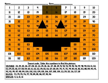Secret Code:  Number Recognition hundreds charts to 120 Halloween Hidden picture