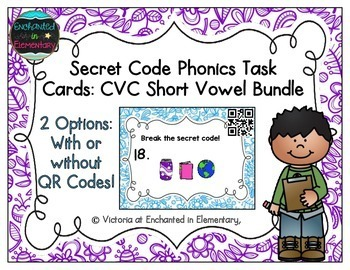 Secret Code Phonics Task Cards: CVC Bundle