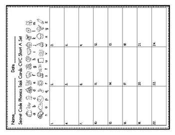 Secret Code Phonics Task Cards: CVC Short A Set