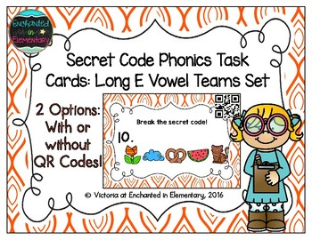Secret Code Phonics Task Cards: Long E Vowel Teams Set