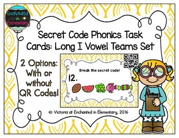 Secret Code Phonics Task Cards: Long I Vowel Teams Set