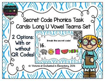 Secret Code Phonics Task Cards: Long U Vowel Teams Set