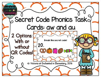 Secret Code Phonics Task Cards: aw and au