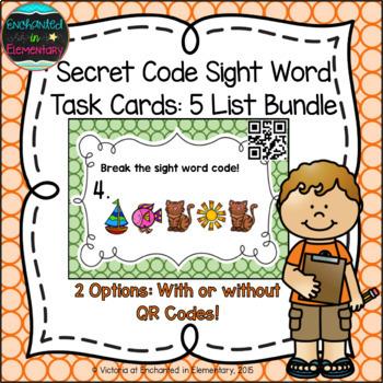 Secret Code Sight Words Task Cards: 5 List Bundle